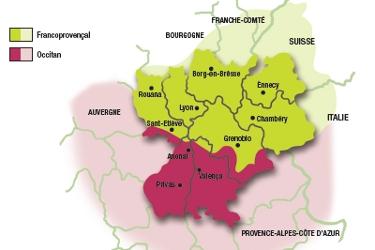 Carte du francoprovencal et de l'occitan en Rhône-Alpes.
